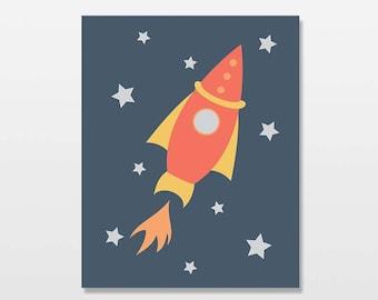 Rocket Ship Art Print, Outer Space Stars, Boys Nursery Artwork, Spaceship Decor