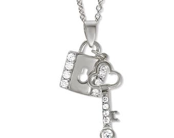 Silver Lock and Key Love Pendant - Valentines Day - Gift for girlfriend - gift for wife - birthday - romance gift - Cubic Zirconia