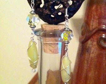 Yellow wire wrapped stone and swirl glass earrings
