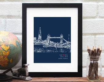 Engagement Gift, Personalised London, England Cityscape, Personalised Gift for Bloke, First Anniversary, London Wedding, Engaged in England