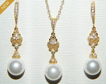 Bridal Pearl Jewelry Set, White Pearl Gold Earrings&Necklace Set, Swarovski Pearl Wedding Set, Chandelier Pearl Jewelry Set, Bridesmaid Gold