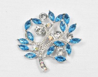 Blue Brooch, Aqua Blue Brooch , Crystal Blue Brooch, Teal Rhinestone Wedding Brooch, DIY Supplies, Aqua Blue Bridal Brooches