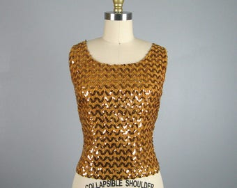 Vintage 1960s Gold Sequin Shell Top 60s Sparkling Sleeveless Evening Blouse Size Small