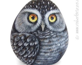 Original Hand Painted Northern Hawk Owl Rock (Surnia Ulula) Hand Painted On a Sea Rockl Unique Painted Stone by Roberto Rizzo