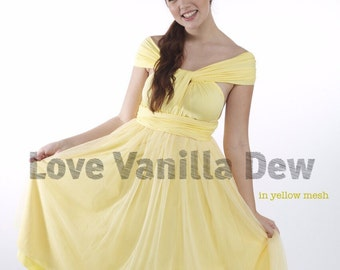 Bridesmaid Dress Infinity Dress Lemon Yellow Tulle Knee Length Wrap Convertible Dress Wedding Dress