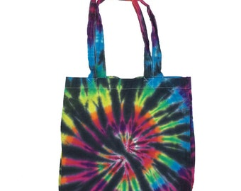 Tie Dye Tote Bag - Spiral Black