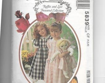 McCall's Girl's Dress , Pantaloon and Doll's Dress Pattern 5839