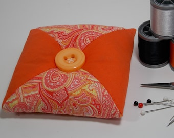 Quilted Square - Tirangular Patchwork Pincushion - Orange / White / Paisley - Poly-fil / Crushed Walnut Shell Filling