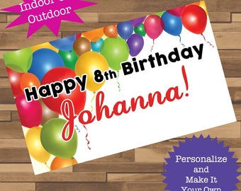"""18""""x30"""" Colorful Balloons Personalized Birthday Party Banner   Graduation Party   Custom Banner"""