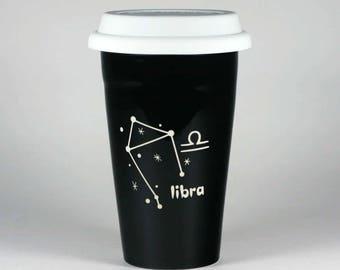 Libra Zodiac Travel Mug - Black insulated ceramic coffee cup w/ lid