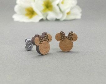 Disney Minnie Mouse Post Earrings - Laser Engraved Wood Earrings - Hypoallergenic Titanium Post Earring Pair