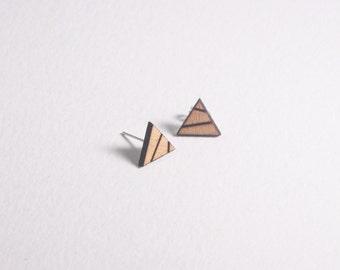 Wooden earrings, wooden stud earrings, triangle earrings, geometric stud earrings, laser cut jewellery, laser cut earrings