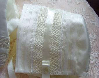 Ivory Silk Christening Bonnet. Boy or Girl Baptism Bonnet. Ivory Silk Dupion Bonnet.