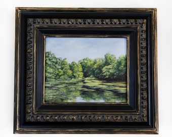 Green Lake Original Forest Landscape Oil Painting. 8x10  Framed Realistic Nature Painting, Vintage Black and Gold Frame. Home Wall Decor