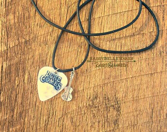 Your Guitar Pick Made Into a Leather Necklace country music fest lover rocker girl style concert fashion festival ready adjustable cord