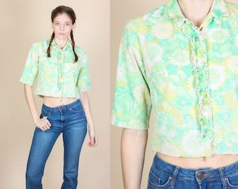 70s Cropped Floral Blouse - Small // Vintage Western Button Up Top