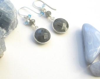 Labradorite Bezel Earrings, Labradorite Earrings, Natural Gemstone, Long Dangle Earrings, Gray Stones, Bezel Drop Earrings, Gift for a Grad