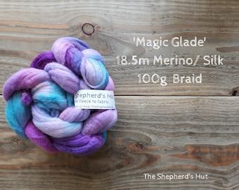 Merino / Tussah Silk hand dyed braid 'Magic Glade' 100 g  3.5 oz