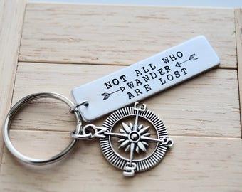 Pas tous ceux qui se promener sont perdus-clé avec charme Compass ~ tirette ~ accessoires
