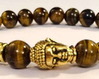 Golden Buddha / Tiger's Eye Beaded Shamballa Zen Stretch Bracelet Men/Women