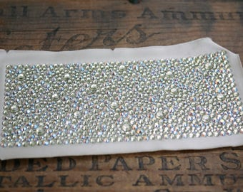 Rhinestone Panel Rhinestone Fabric Piece Jonquil AB Rhinestone Panel 6-1/4 by 2-3/4 inches (1) CL49