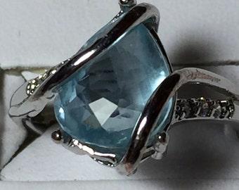 Aquamarine pear silver ring