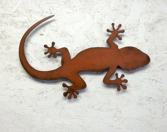 "Lizard Gecko metal wall art - 10"" long - choose your color with rust patina - lizard art gecko art wall art Squamata Gekkonidae metal art"