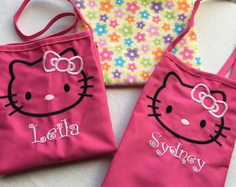 Personalized Kids Apron, Hello Kitty Embroidery, Child Apron