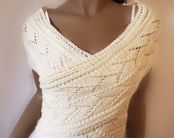 Women's Hand Knitted Sweater Vest Lace Knit Cotton Cross Vest Wrap Sweater Natural Fiber Knit, Many colors available