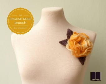 DIY - PDF tutorial - The English Rose Brooch - Intermediate level - 2 PDFs - Instant download