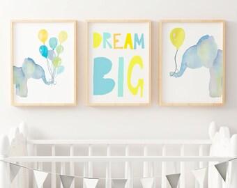 Elephant Nursery Print | Forest Animal Wall Art | Boys Woodland Nursery Decor |  Nursery Print Set | Dream Big Bedroom Poster | Watercolour
