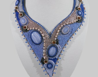 Bib, embroidered, asymmetrical necklace with chalcedony, Swarovski crystals, freshwater pearls
