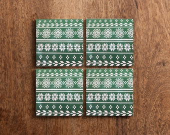 Green Winter Sweater Design Set of 4 Coasters