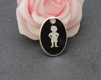 An Oval Pendant with engraving stainless steel silhouette baby boy