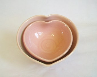 Nesting Heart Bowls -  Shades of pink - Set of 2, Handmade - Ready to Ship- Actual Set - 4.25 in. wide