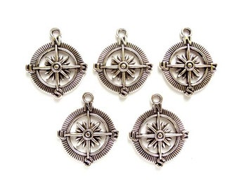 5 Antique Silver Compass Charms - 27-32