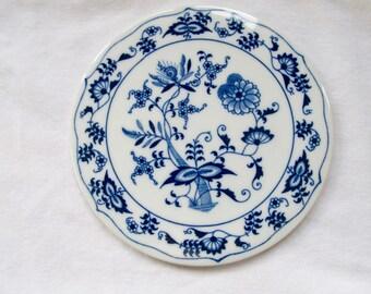 Vintage Blue Onion Porcelain Tea Tile - Japan