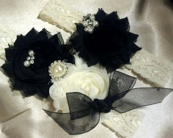 Bridal Garter Set Wedding Garter Lace Garter Set Custom Garter Set Rhinestone Garter Set Black and Ivory Garter Pearl Garter Set