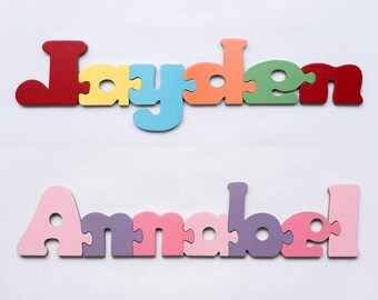 Name Jigsaw Personalised Childrens Puzzle Wooden handmade boys and girls names. Educational gift for young kids