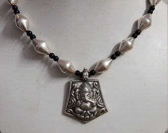 92.5 Sterling Silver Vax Covered Beads Mala With Silver Stamped Hammer Carved Hindu Deity God Ganesha Adjustable Pendant Necklace.