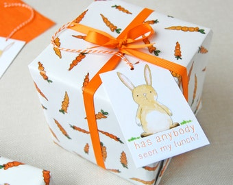 Carrots And Rabbits Wrapping Paper Set - Bunny Gift Wrap - Quirky Eco Friendly Wrapping Paper - Spring Gift Wrap - Birthday Wrapping Paper