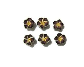 15 mm Polymer Clay Plumeria Flowers Set of 6 (SP14)