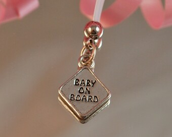 Baby On Board, Pewter Charm Pregnancy Belly Button Ring