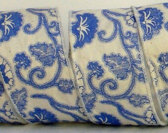 2.5 inch Wired Cotton Ribbon ~ Wired Floral Cotton Thick Ribbon ~ Blue & Cream Floral Ribbon ~ 3 Yards