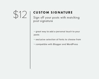 Post Signature — Add On — Add Custom Post Signature to Your Blog Template — Custom Script Signature for Blogger or WordPress