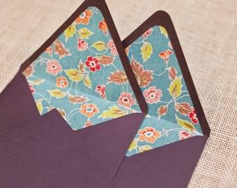 Floral Lined Envelopes & Cards, Set of 7, A6
