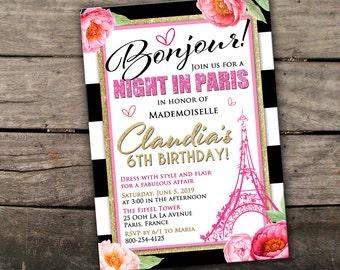 10% OFF NEW Printed or Digital Paris Birthday Invitation Pink and Gold Birthday Invitation Paris Birthday Invite Night in Paris Birthday