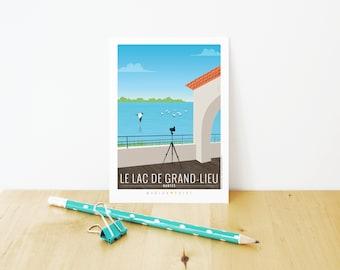 Illustrated - Nantes postcard Lake of Grand-place card / / Illustration - home - Wall Art