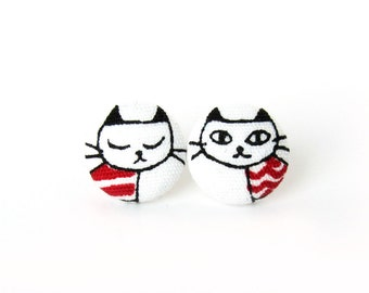 Cat lover gift - cat earrings - tiny kitten earrings - girls earrings - animal earrings - cat lady - kawaii kids cute black red white kitty