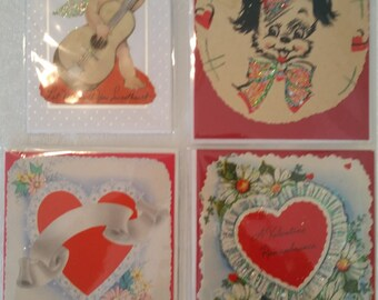 Set of 4 Vintage Valentine's Day Cards, greeting cards, vintage valentine, vintage cards, handmade cards, glitter cards, vintage greeting